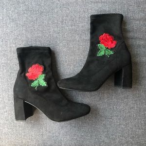 Floral Ankle Sock Booties with Block Heel